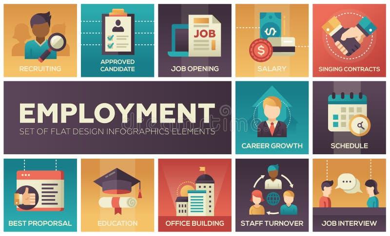 Emprego - grupo de elementos lisos do infographics do projeto ilustração do vetor