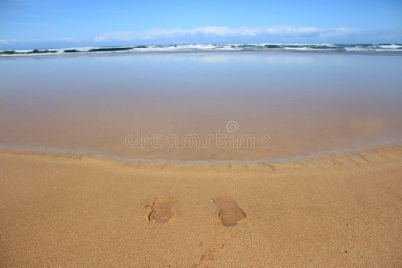 Empreinte de pas dans le sable sur la plage photos stock