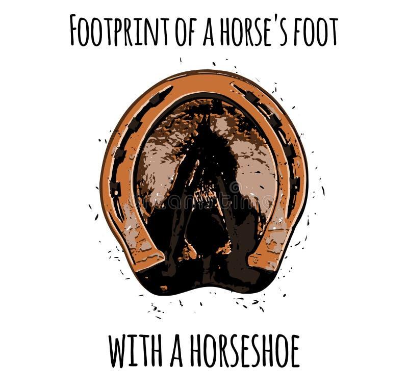 Empreinte de pas du pied d'un cheval avec un fer à cheval illustration stock