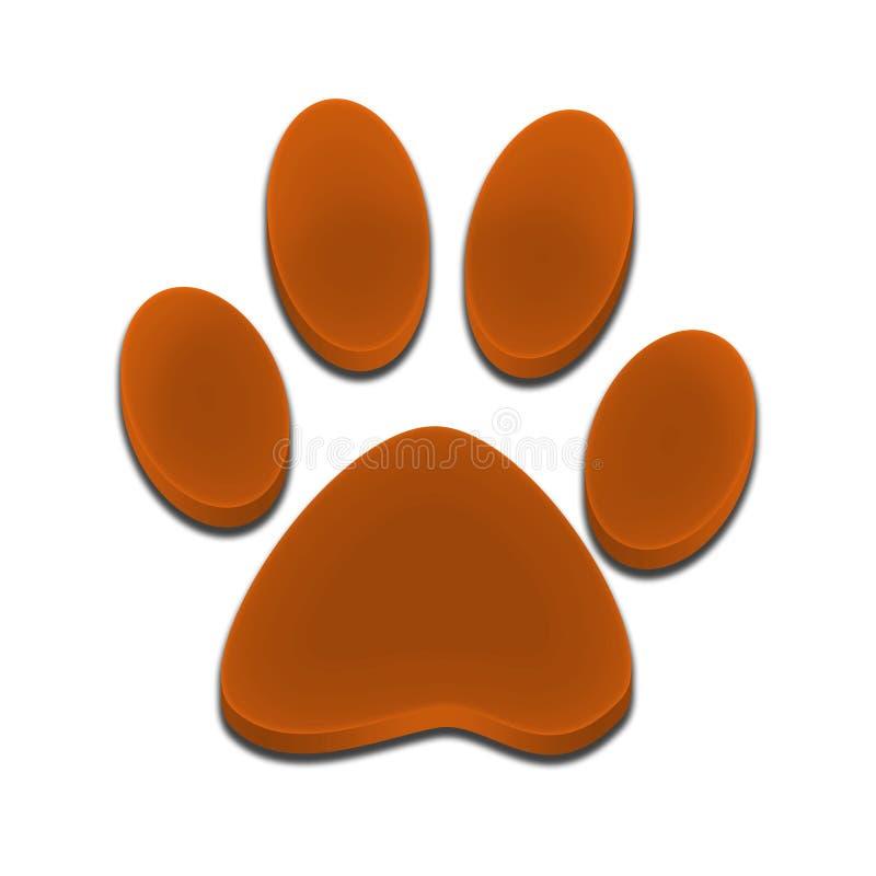 Empreinte de pas de logo de couleur d'orange du chien 3d illustration de vecteur