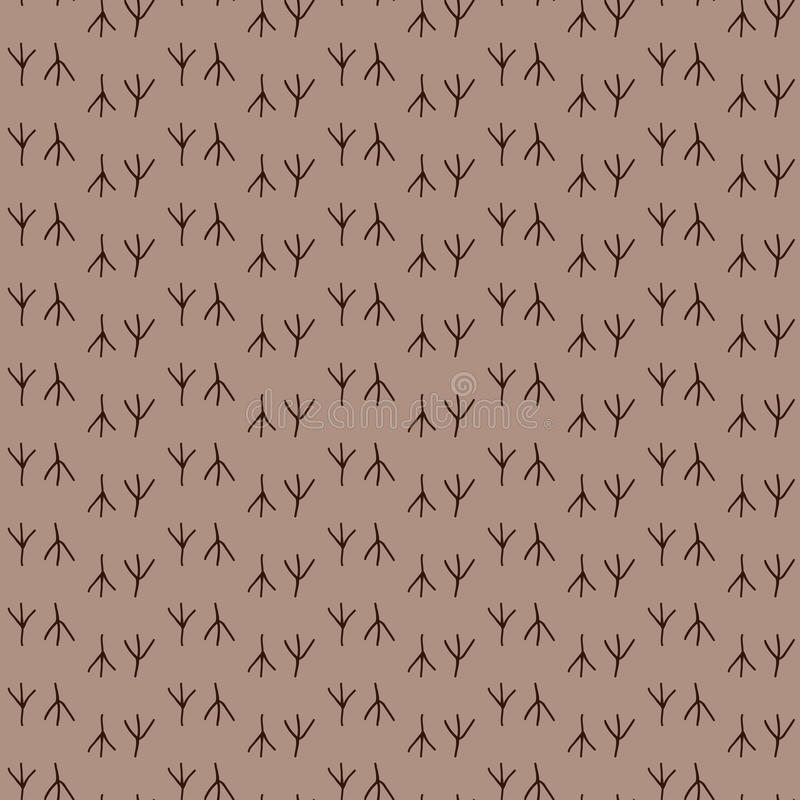 Empreinte de pas sans couture d'oiseau de fond de modèle Vecteur d'impression Papier peint de Brown illustration de vecteur