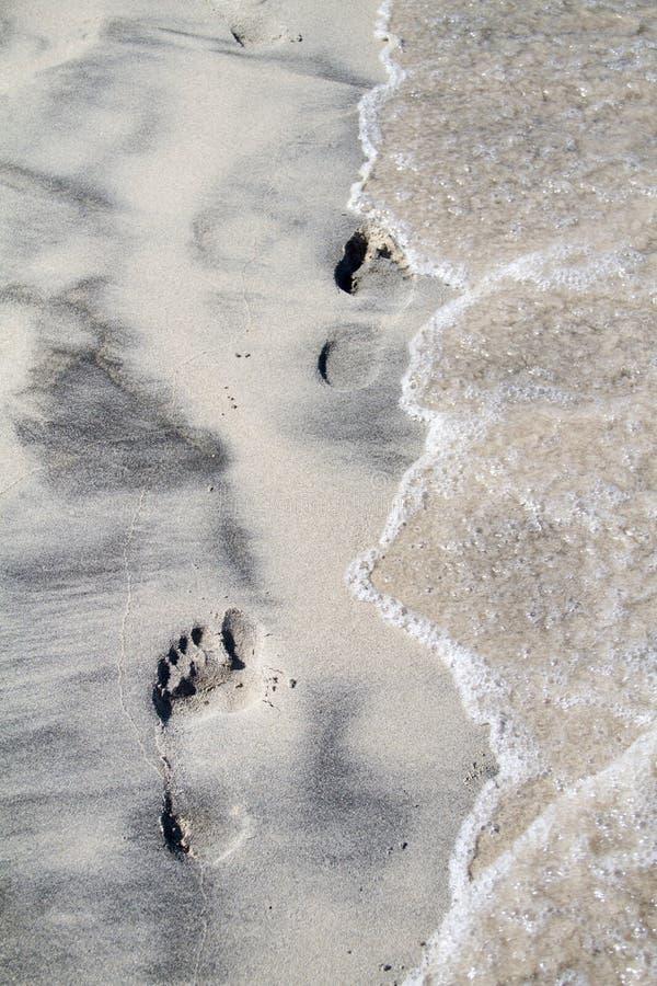Empreinte de pas sur la plage image stock