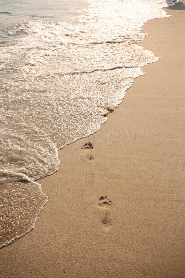 Empreinte de pas sur la plage images stock