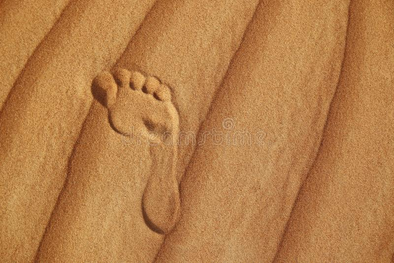 Empreinte de pas sur le sable du désert images libres de droits