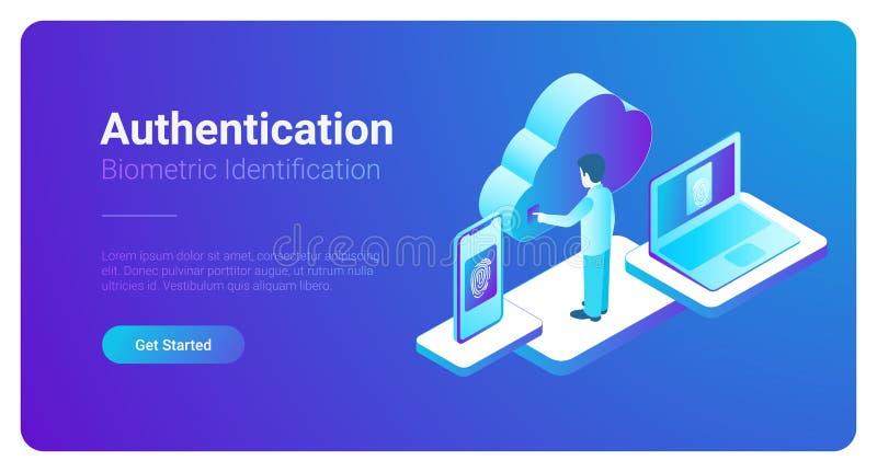 Empreinte digitale biométrique ide d'authentification isométrique illustration libre de droits