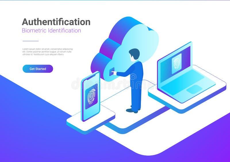 Empreinte digitale biométrique ide d'authentification isométrique illustration de vecteur