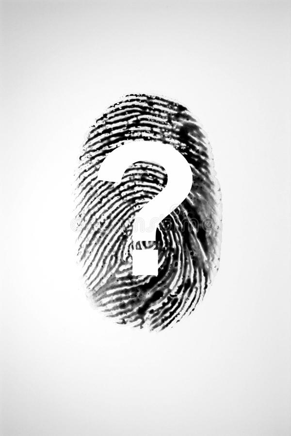 Empreinte digitale et point d'interrogation images stock