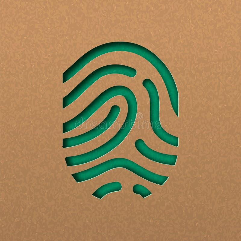 Empreinte digitale humaine dans le style vert de papercut illustration de vecteur