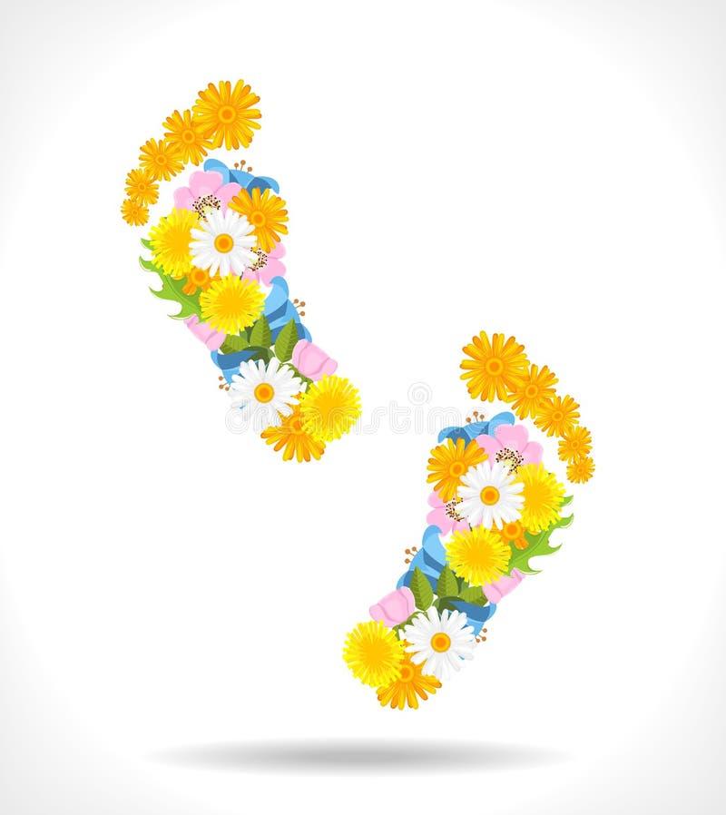 Empreintes de pas abstraites composées des fleurs illustration libre de droits