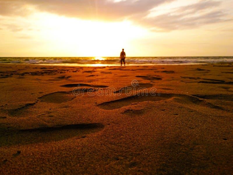 Empreintes de pas d'or de sable photographie stock
