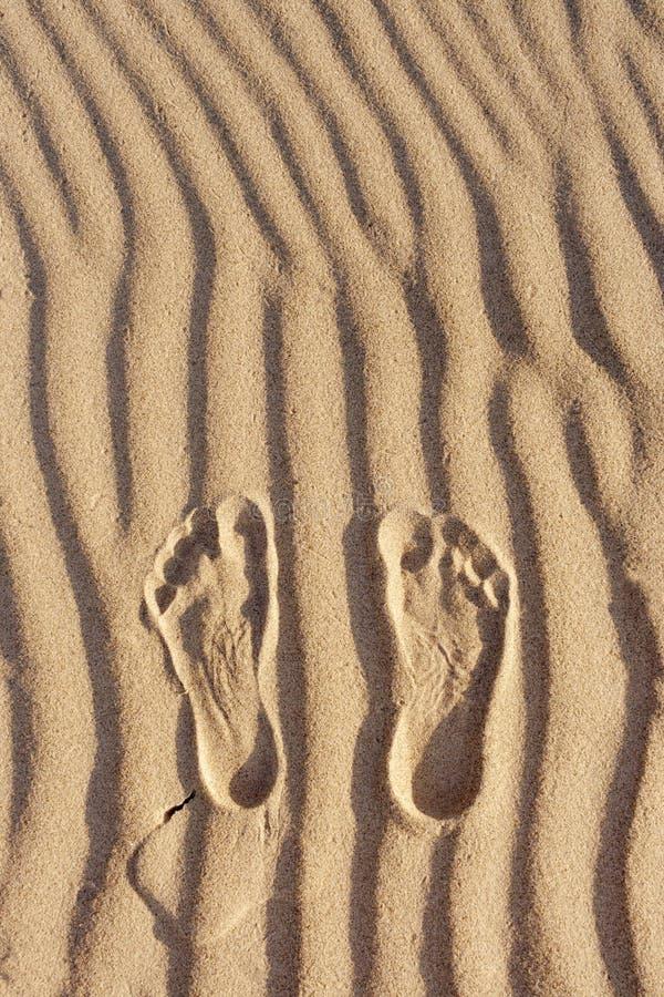 Empreintes de pas dans le sable Empreinte de pied du ` s de l'homme sur le sable sur la plage photos libres de droits