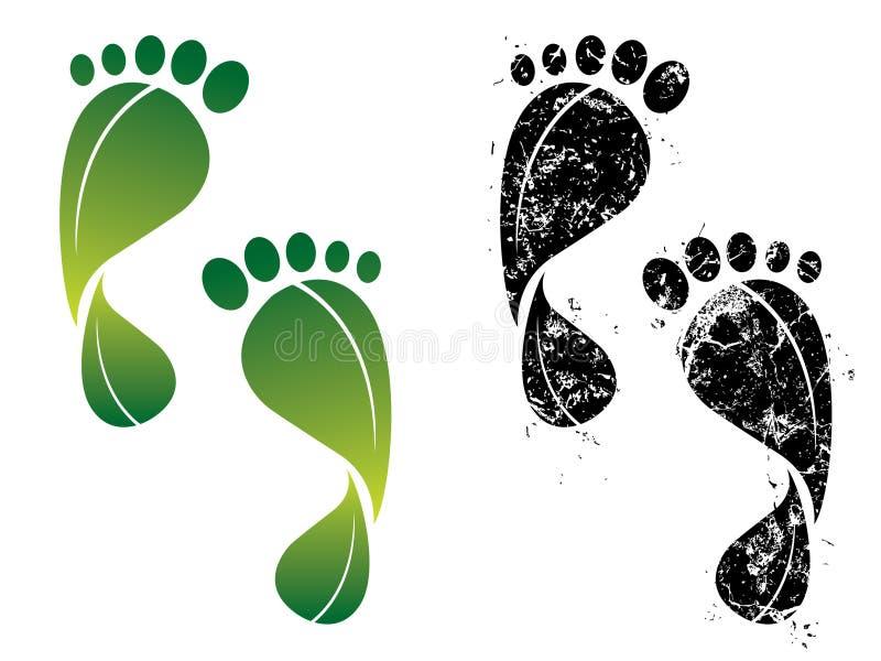 Empreintes de pas de carbone et d'eco illustration libre de droits