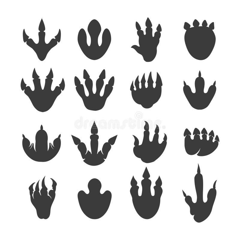 Empreintes de pas de reptile de vecteur ou voies de dinosaure illustration de vecteur