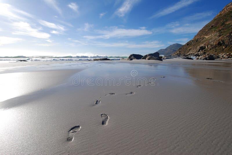 Empreintes de pas en sable photos libres de droits