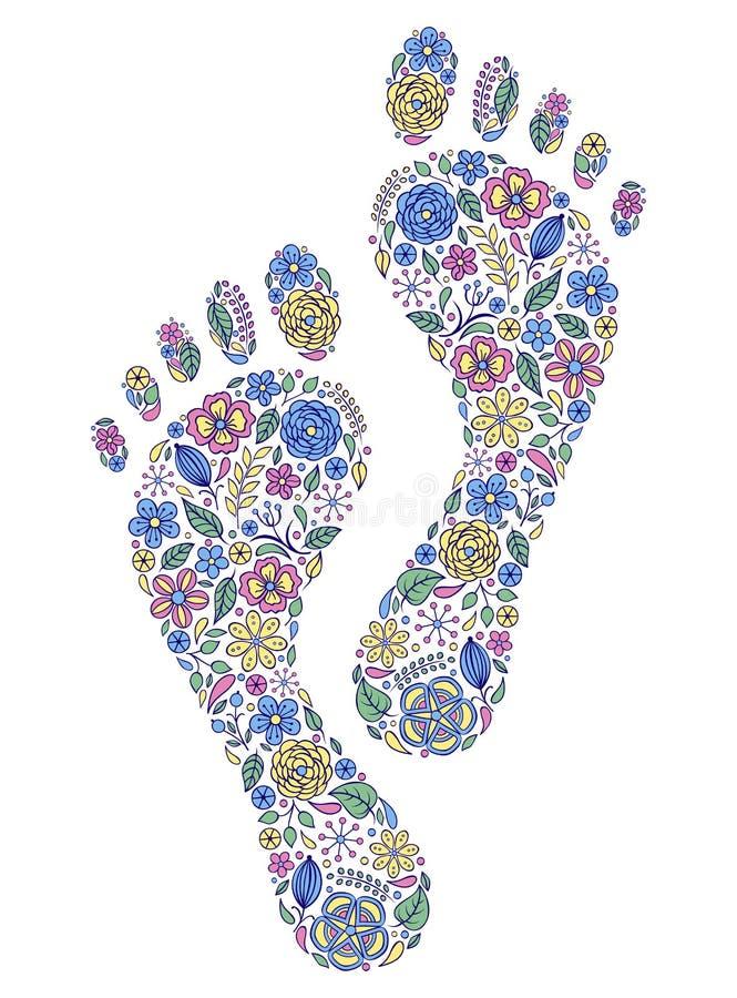 Empreintes de pas humaines florales illustration de vecteur
