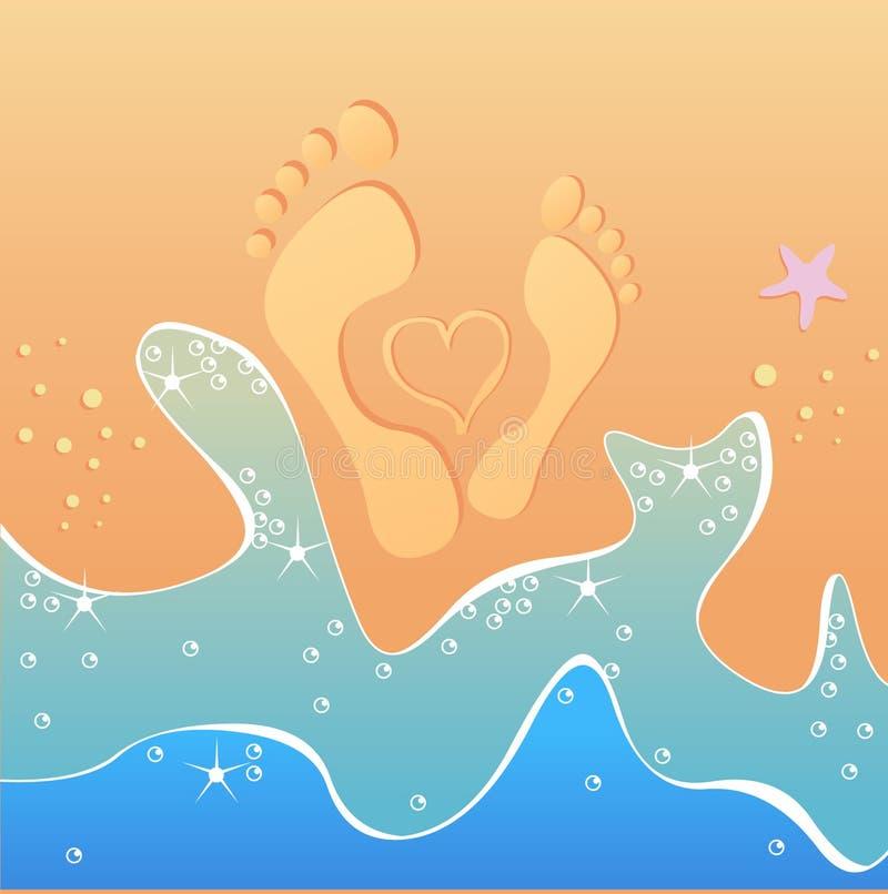 Empreintes de pas mâles et femelles avec le coeur tiré par la main illustration libre de droits