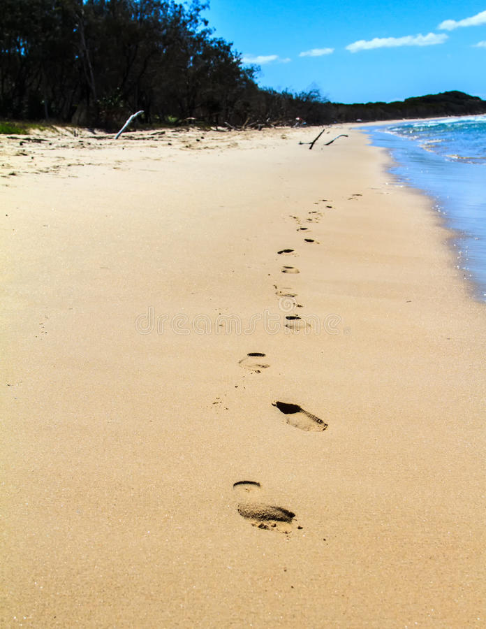 Download Empreintes De Pas Sur La Plage Photo stock - Image du solitude, footprints: 45363540