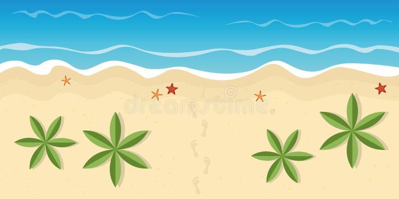 Empreintes de pas sur la plage isolée avec des palmiers et des étoiles de mer illustration libre de droits