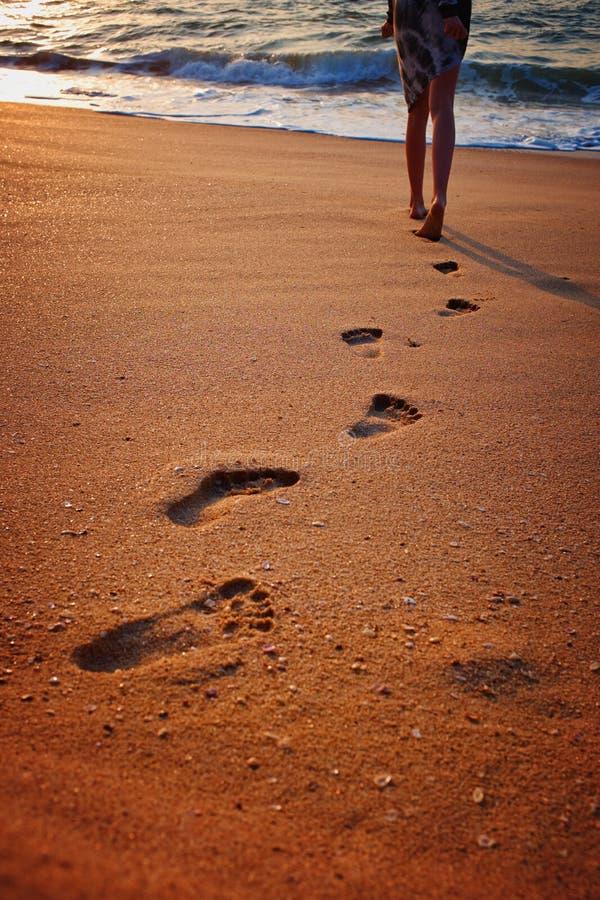 Empreintes de pas sur le sable de plage Traces sur la plage Pas sur la plage par la mer en ?t? image libre de droits