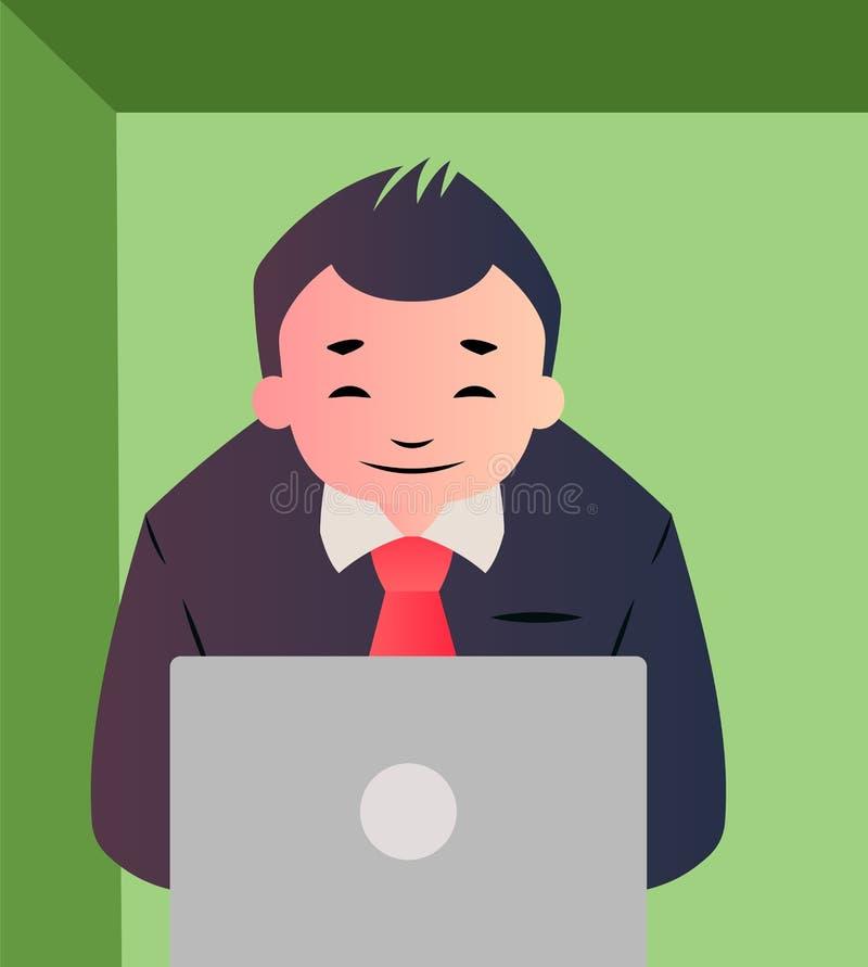 Empresário de cartum que trabalha na ilusão de vetor de laptop ativada ilustração do vetor