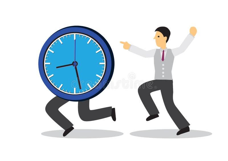 Empresário a funcionar depois de um relógio a correr Conceito de gerenciamento de tempo ou urgência ilustração royalty free