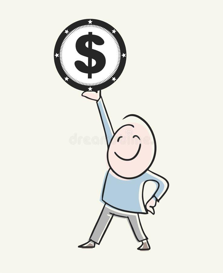 Empresário ganhando dinheiro ilustração stock