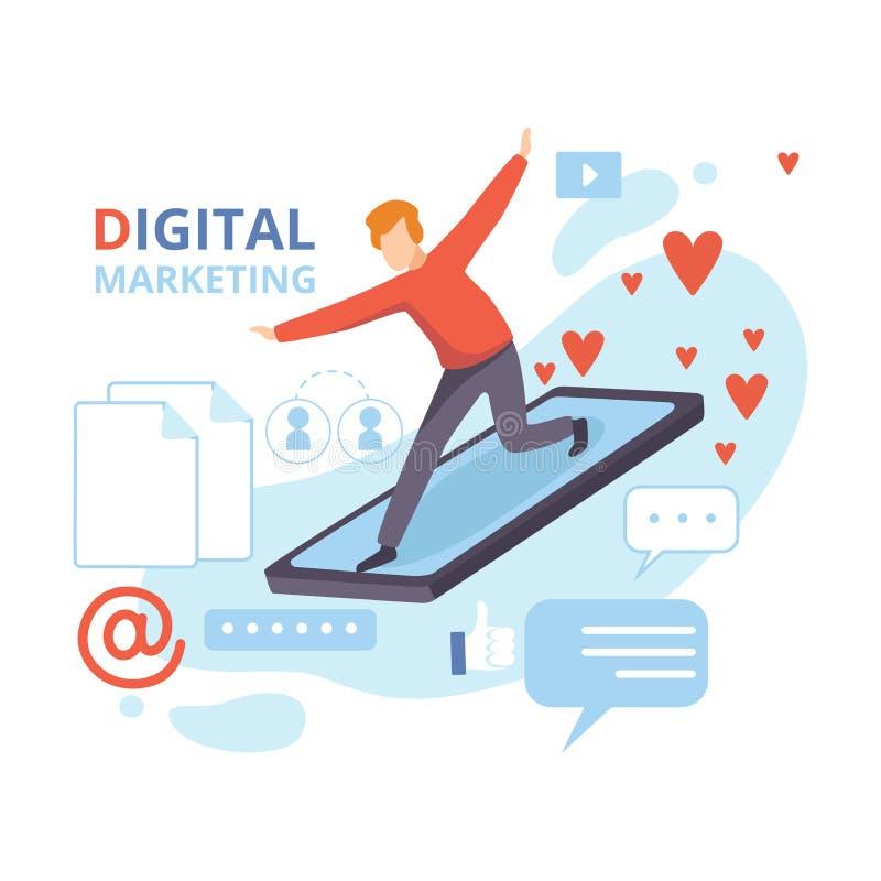 Empresário que voa no Smartphone, Marketing digital, análise de negócios, conteúdo e estratégia de gerenciamento - vetor plano ilustração royalty free