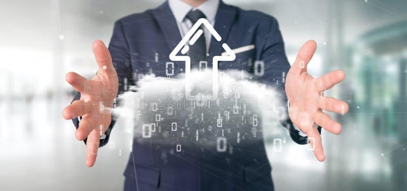 Empresário segurando uma nuvem Binária com o upload de renderização de seta de Internet 3d imagens de stock royalty free
