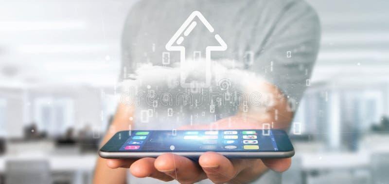 Empresário segurando uma nuvem Binária com o upload de renderização de seta de Internet 3d foto de stock