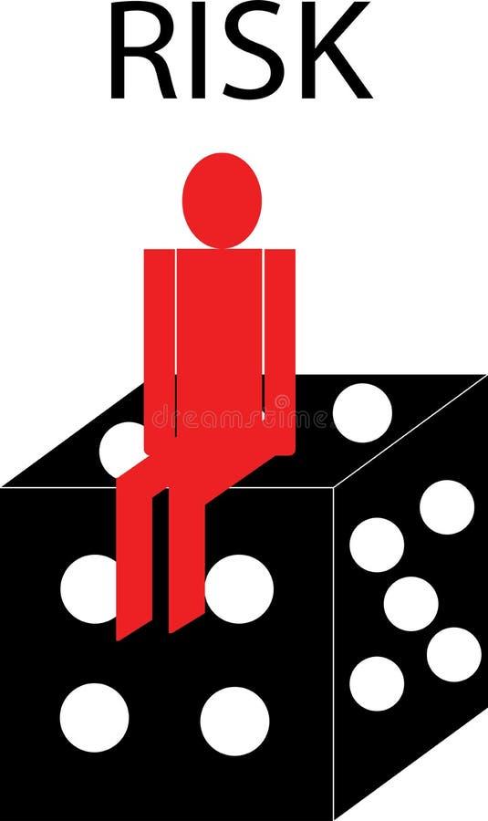Empresário senta sobre jogos de azar, sobre o conceito de negócio de risco - vetor ilustração royalty free