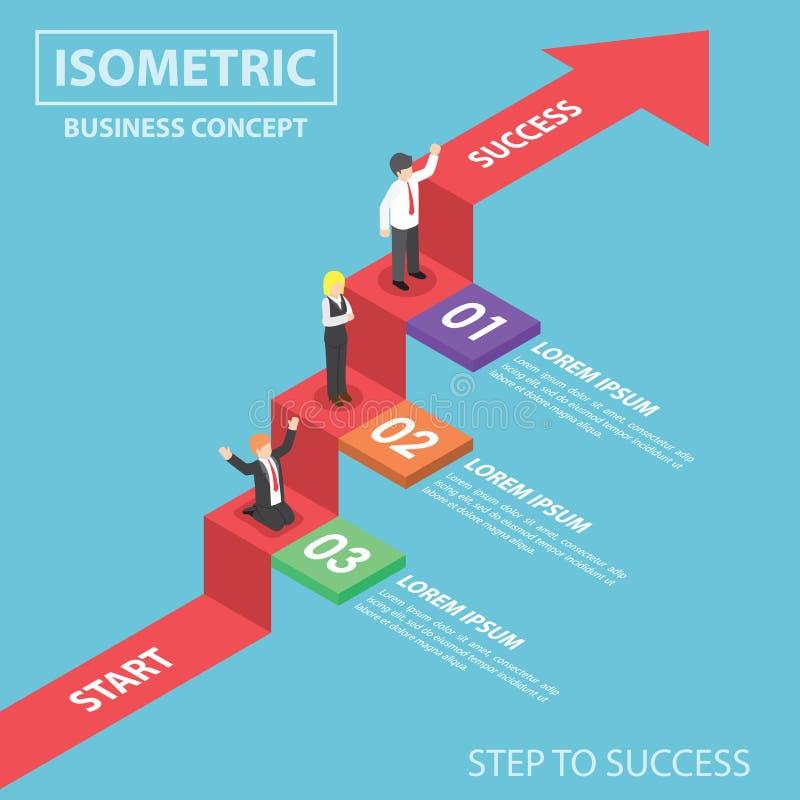 Empresários isométricos na escada do gráfico de negócio ilustração royalty free