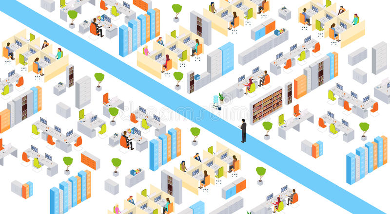 Empresários modernos do prédio de escritórios do centro de negócios que trabalham 3d interior isométrico ilustração royalty free
