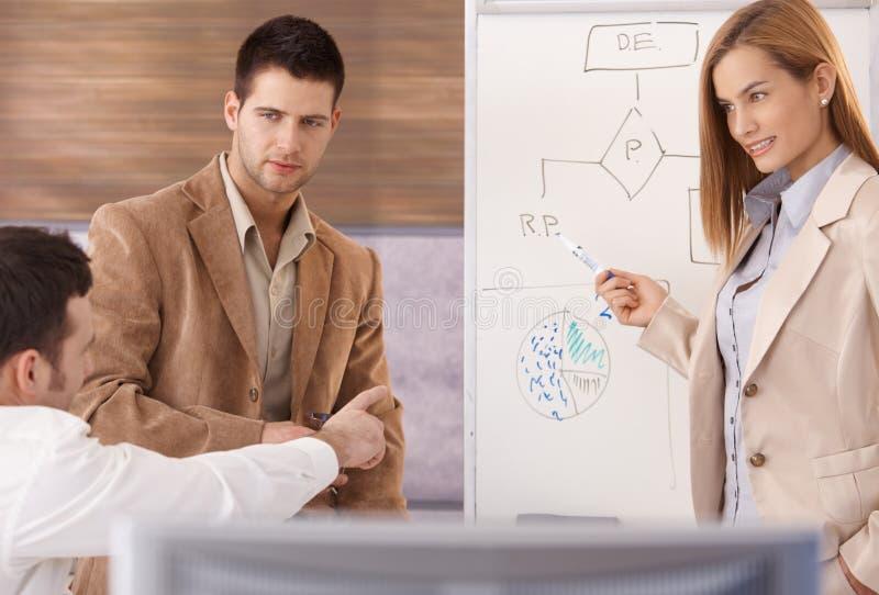 Empresários novos que teamworking com whiteboard fotografia de stock royalty free