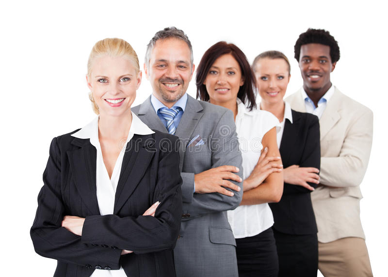 Empresários que estão os braços cruzados sobre o fundo branco fotos de stock royalty free