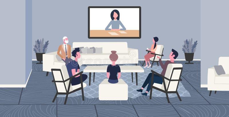Empresários que fazem os colegas da videoconferência que têm trabalhadores de escritório em linha do conceito da conferência da W ilustração royalty free