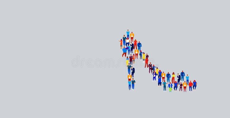 Empresários que se reúnem em sapatos femininos ícone moldam grupos de empresários que se unem nas redes sociais ilustração stock