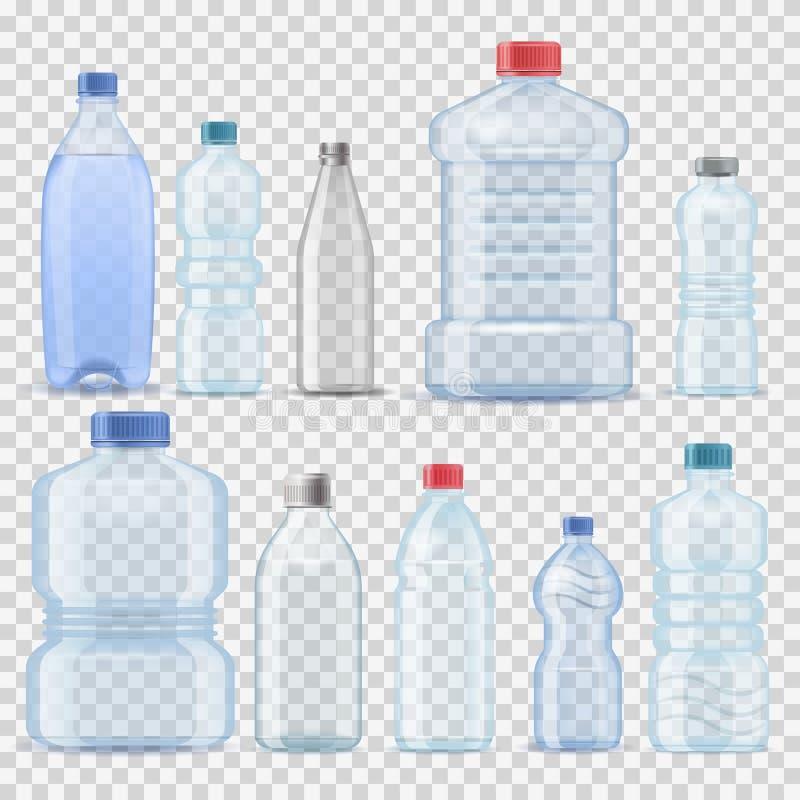 Empresa ajustada da ilustração do vetor do molde realístico limpo plástico transparente do galão do tambor do recipiente da garra ilustração royalty free