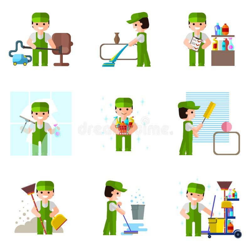 Empresa da limpeza, ícone do vetor, profissional ilustração royalty free