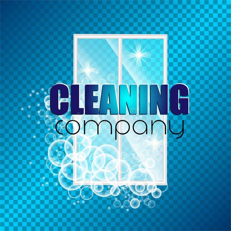 Empresa da limpeza da identidade corporativa do projeto do molde As bolhas realísticas bateram na espuma Ilustração do vetor ilustração stock