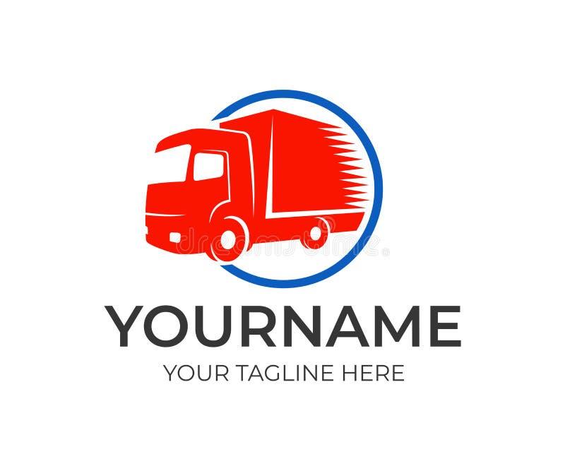 Empresa da logística e caminhão rápido no círculo, molde do logotipo Transporte da carga, entrega dos bens e auto transporte, des ilustração royalty free