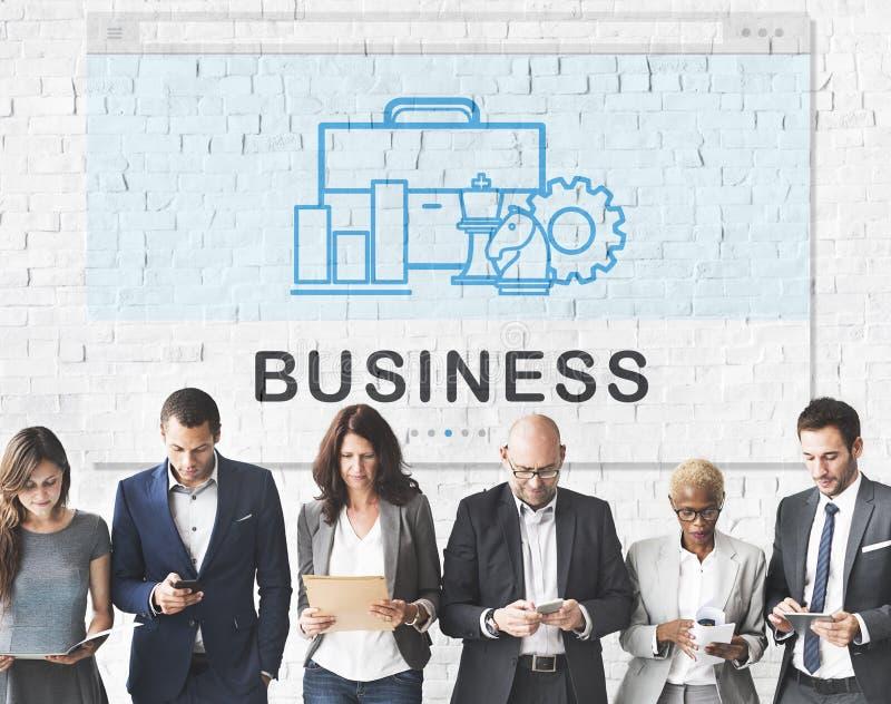 A empresa da organização de negócios utiliza ferramentas o conceito imagem de stock