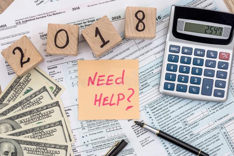 Empresa 2018 da tributação com 'formulário do memorando da ajuda da necessidade '1040 fotos de stock royalty free