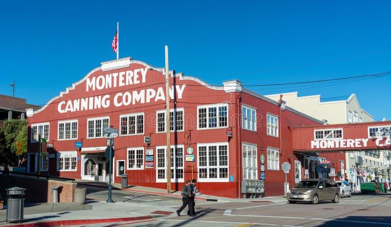 Empresa de colocação em latas de Monterey vista da rua pública imagem de stock