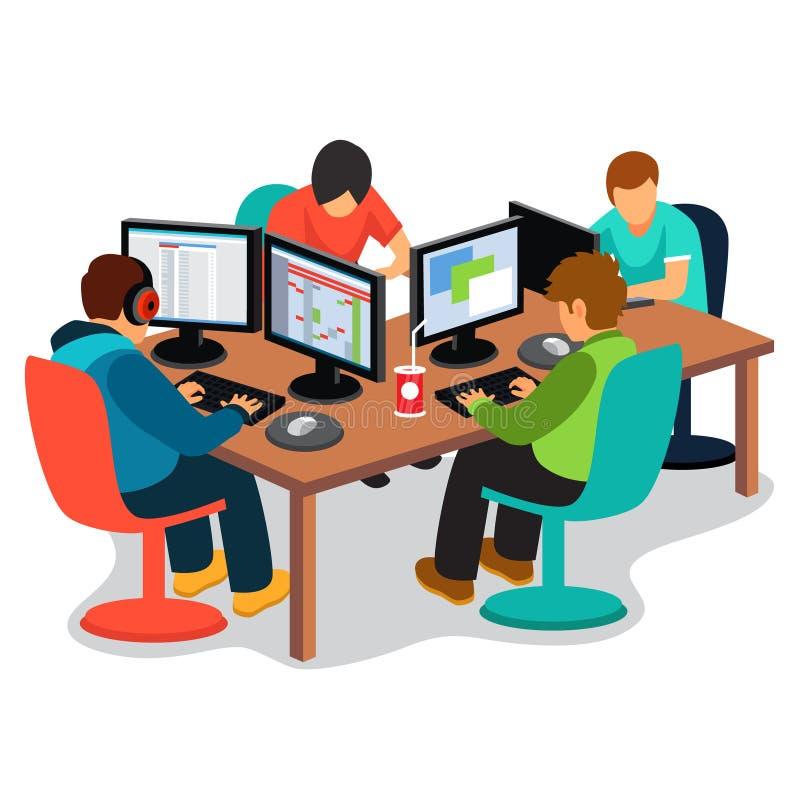 Empresa de IT en el trabajo ilustración del vector
