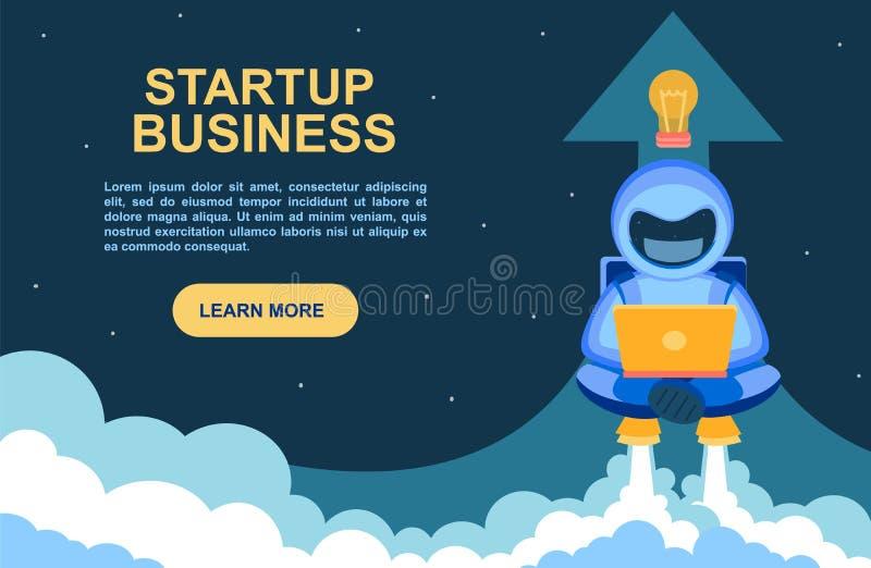 Empresa de inicio. Cartel de un sitio web con un astronauta trabajando diligentemente en una laptop. Cosmonaut despegará en un je ilustración del vector