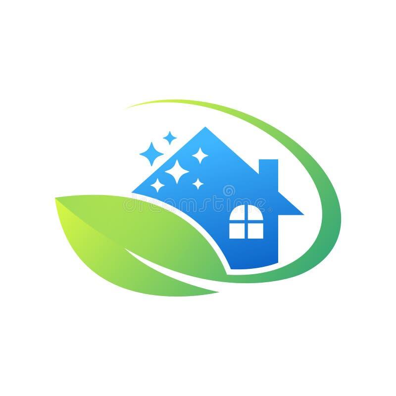 Empresa de serviços amigável da limpeza da casa de Eco ilustração royalty free