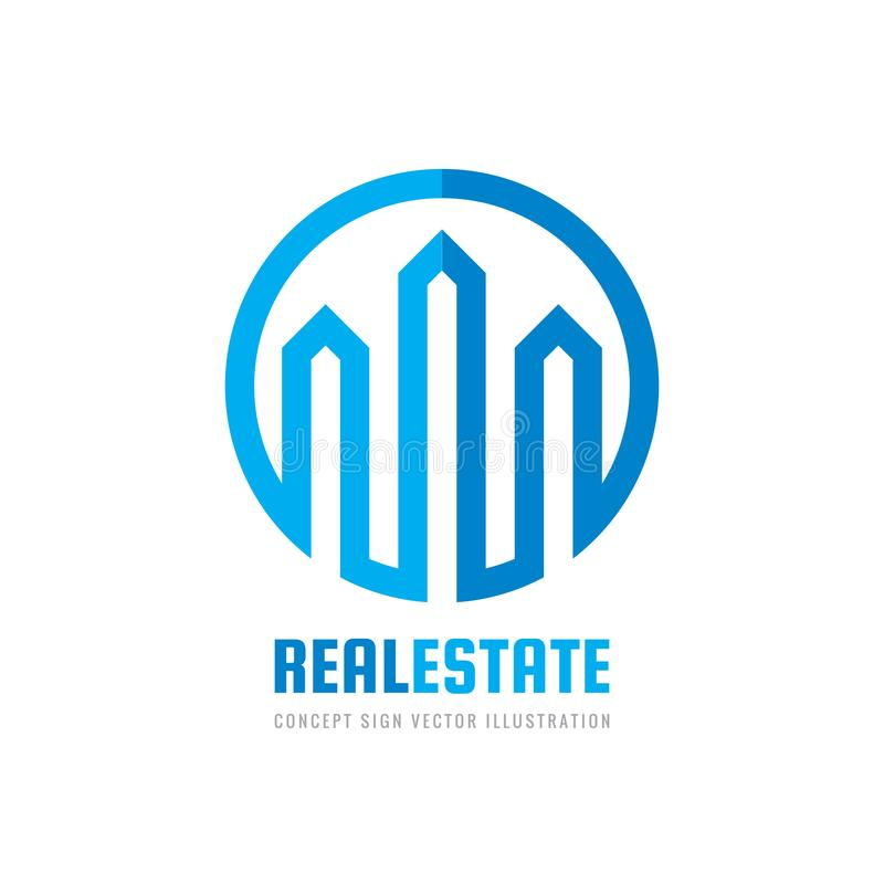 Empresa dos bens imobiliários - ilustração do vetor do molde do logotipo do conceito Sinal criativo da forma abstrata Sucesso do  ilustração stock