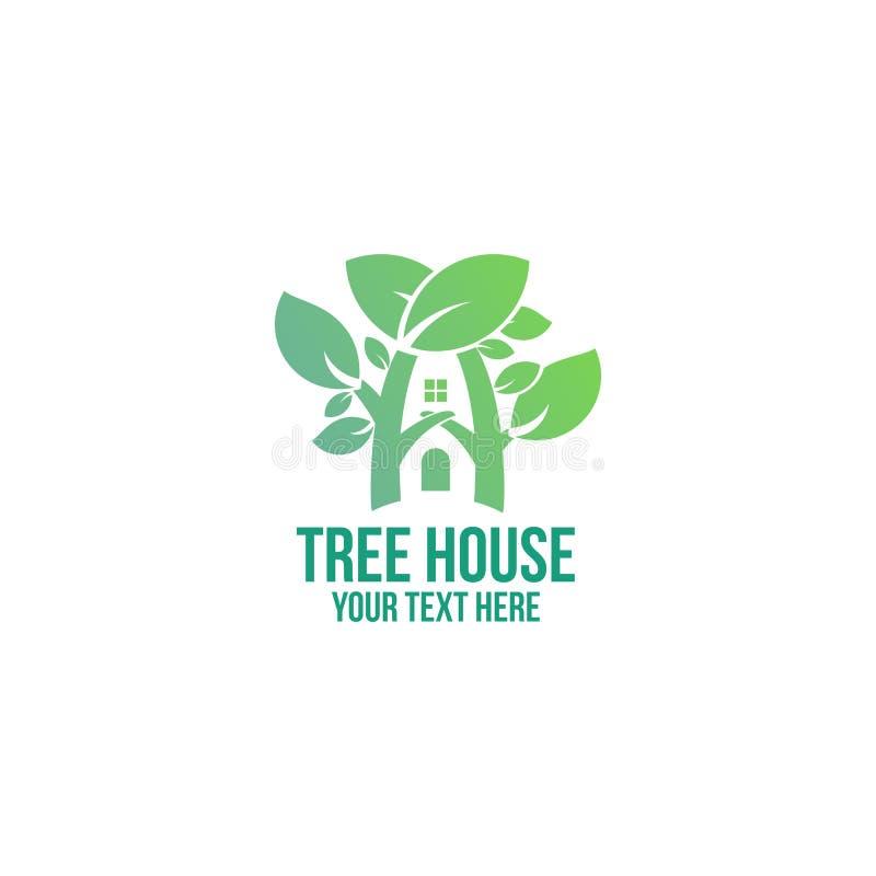Empresa e negócio mínimos do logotipo da casa na árvore ilustração royalty free