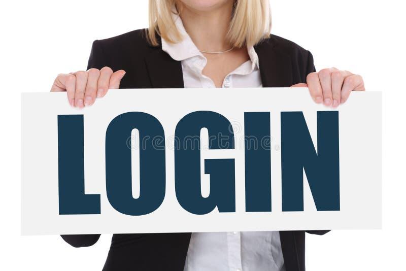 Empresa informática de la seguridad de Internet de la contraseña del registro del inicio de sesión concentrada fotografía de archivo libre de regalías
