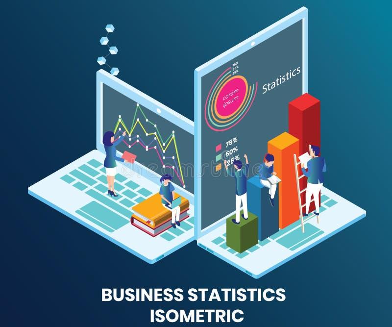 Empresa que trabalha no conceito isométrico da arte finala das estatísticas de negócio foto de stock